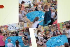 9-Dzieci-skupione-nad-rozlozonym-na-podlodze-niebieskim-materialem-lowia-wedka-z-patyka-papiery-zanieczyszczenie-oceanu