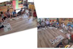 7-Dzieci-siedzac-w-kole-na-podlodze-ogladaja-gazety-i-opowiadaja-o-wykonanych-pracach