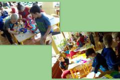 Dzieci-przy-stolikach-wykonuja-prace-plastyczna-z-kolorowych-kartek-i-bibuly