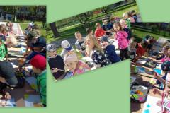 Malowanie-farbami-przy-stolikach-w-ogrodzie-przedszkolnym