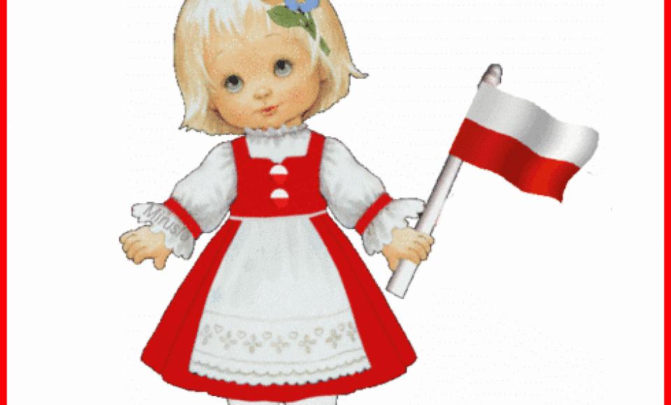 dziewczynka w biało-czerwonym stroju z polską flagą nad nią napis dzień flagi rzeczypospolitej polskiej 2 maja