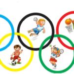 pięć kolorowych kół w środku których znajdują się ćwiczące dzieci