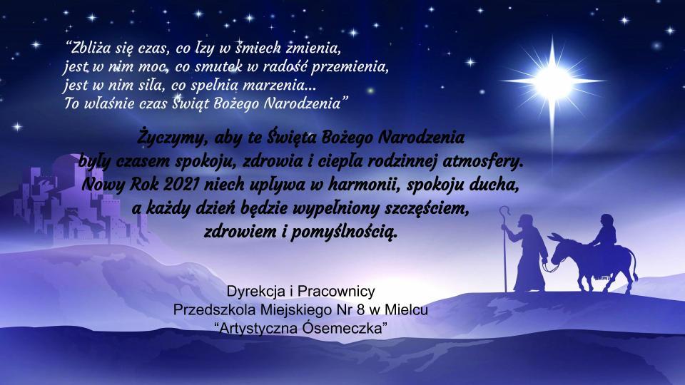Kartka z życzeniami świątecznymi od dyrekcji i pracowników przedszkola.